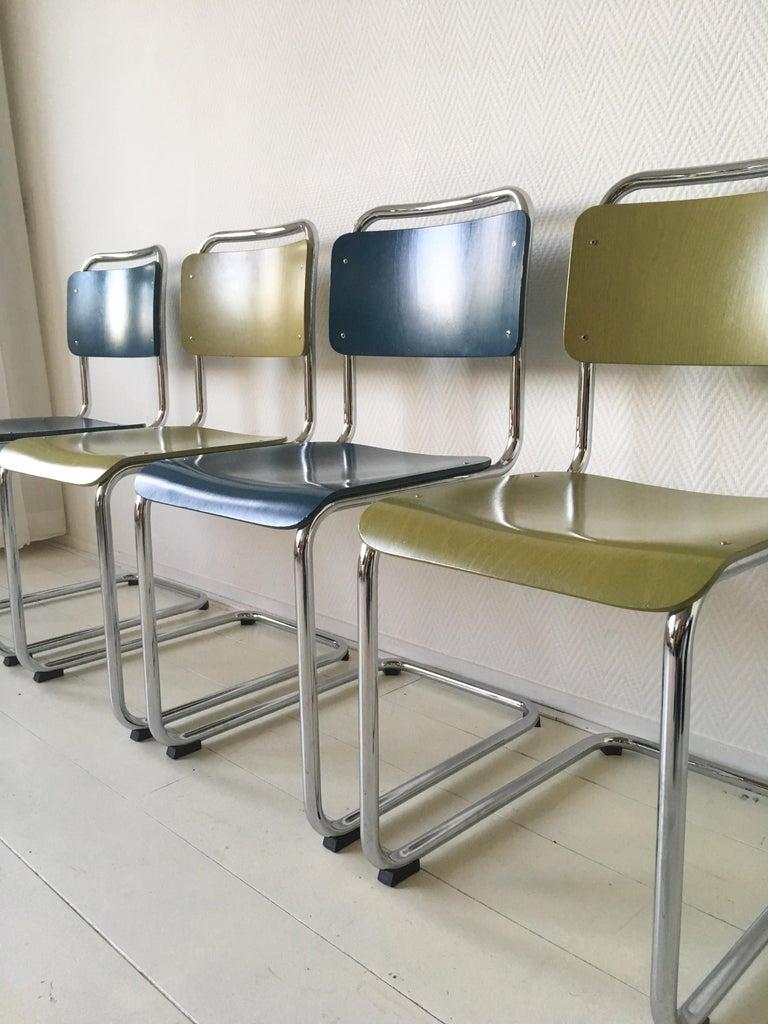 Bauhaus W.H. Gispen Dining Room Chairs, Model 101, Wood, Gebroeders van der Stroom, 2004 For Sale