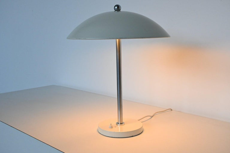 W.H. Gispen White Mushroom Table Lamp Gispen, The Netherlands, 1950 For Sale 3