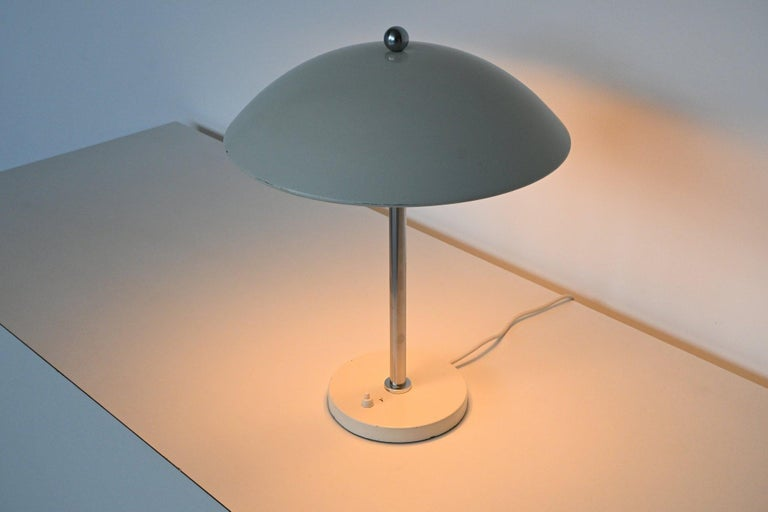 W.H. Gispen White Mushroom Table Lamp Gispen, The Netherlands, 1950 For Sale 4