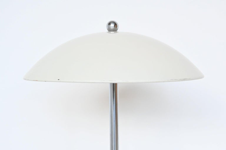 Dutch W.H. Gispen White Mushroom Table Lamp Gispen, The Netherlands, 1950 For Sale
