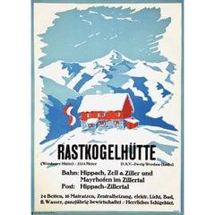 W H Tittel Rastkogelhütte Original Vintage Skiing Climbing Travel Poster Austria
