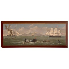 Whaling Seascape on Wooden Panel
