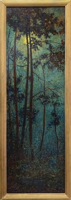 Forest Scene, American Impressionist landscape painting, rare find, signed