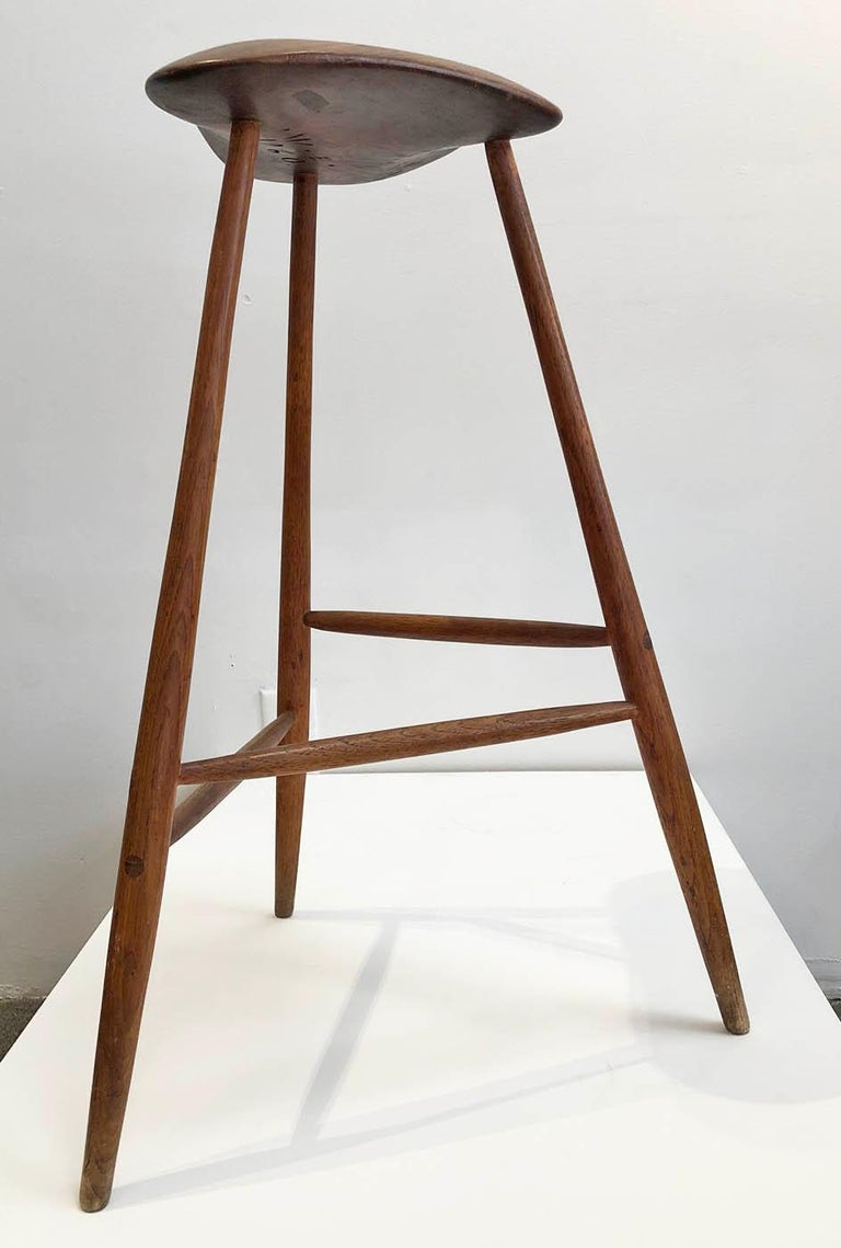 Hand crafted wooden stool by American artist and craftsman, Wharton Esherick. Signed and dated 1960. 
