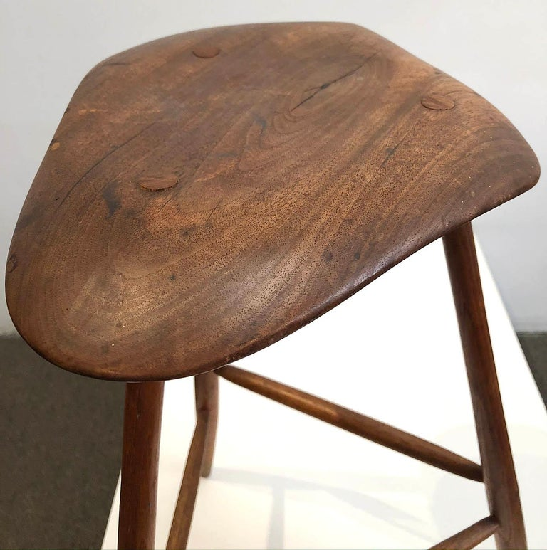 Wharton Esherick Wooden Stool In Excellent Condition For Sale In Los Angeles, CA