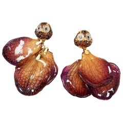 """""""What a Hoot"""" Earrings of Real Orchid Petals & Piles of Diamonds Set in 18k Gold"""