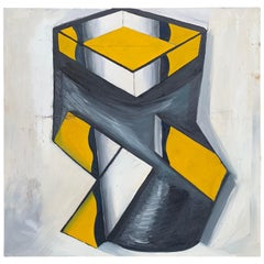 Large Mid-Century Modern Abstract Oil Painting With Yellow Black Cubes