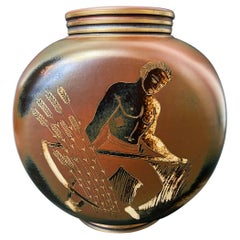 """""""Wheat Harvest,"""" Unique Art Deco Vase with Semi-Nude Worker by Nylund, Sweden"""