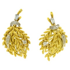 Wheat Leaf Yellow Gold and Diamond Bouquet Clip-On Earrings by Ornate