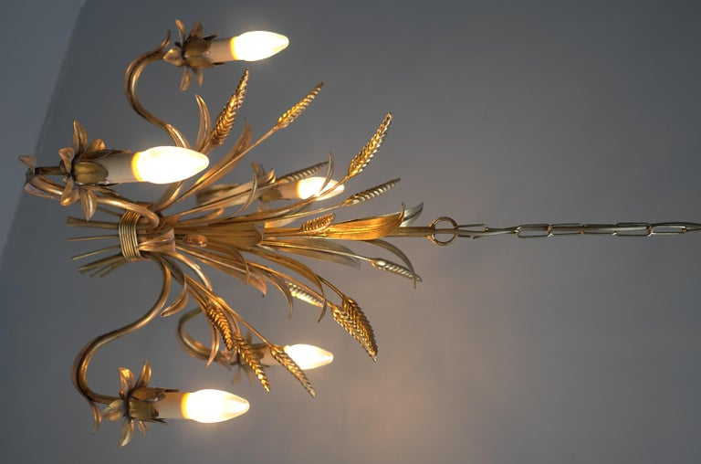 French Wheat Sheaf Gold Colored Pendant Lamp, France, 1960s For Sale