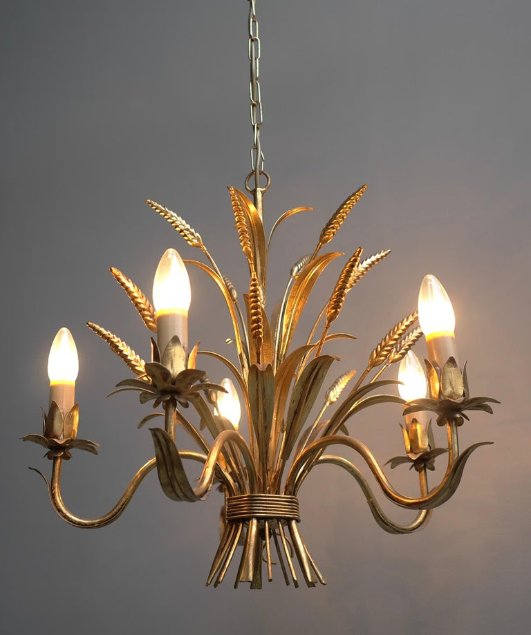 Wheat Sheaf Gold Colored Pendant Lamp, France, 1960s In Good Condition For Sale In Den Haag, NL
