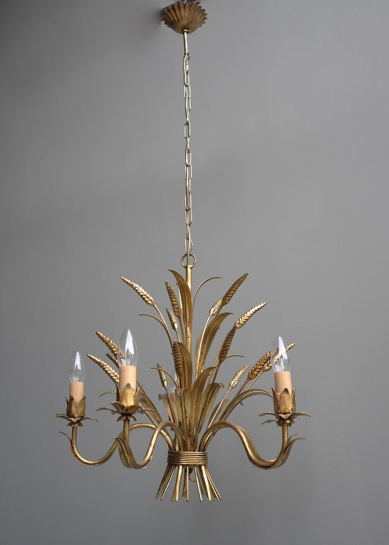 Mid-20th Century Wheat Sheaf Gold Colored Pendant Lamp, France, 1960s For Sale
