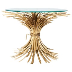 Wheat Sheaf Side Table in Antique Gold Finish with Glass Top