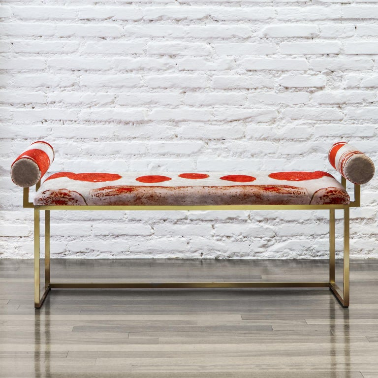 This bench is part of the awaiting collection, presented by Secondome during Milan Fuorisalone 2016. It's a series of items born from the encounter between the printed silk and cotton velvet designed by the artist Coralla Maiuri, and the essential,