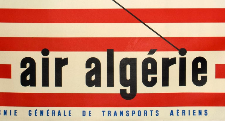 In this clean, 1950s atomic-age design for Air Algerie, Guy Georget features the sleek Lockheed Constellation with its distinctive triple-tail and thin, dolphin-shaped body. The posters palette of blue, red and white, are those of the French