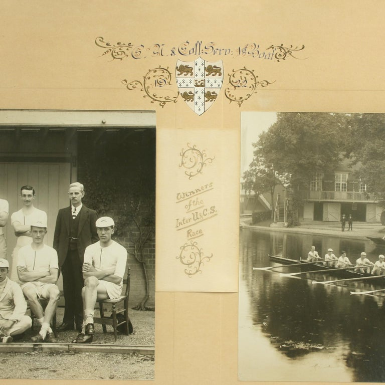 Cambridge University Association College Servants Double Rowing photograph. A good framed Cambridge Association College Servants rowing team photo of the 1922 1st boat crew, winners of the Inter U. & C.S. race. The photos are framed in a