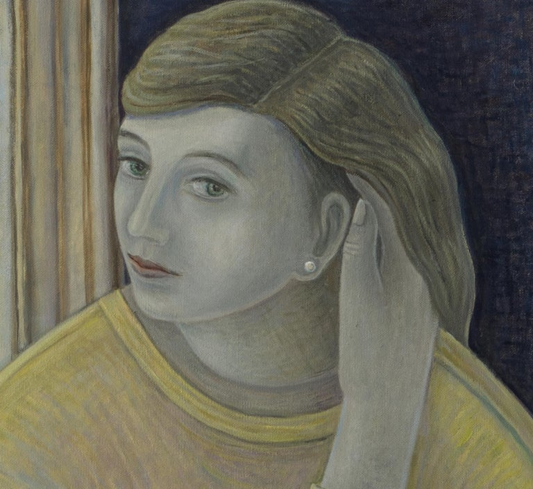 Much vaunted Scottish artist Ruth Addinall is well recognised for her paintings of women, her characters form strong pieces that also reflect a more gentle aspect. Her subject is a thoroughly modern girl, however there are allusions to a more