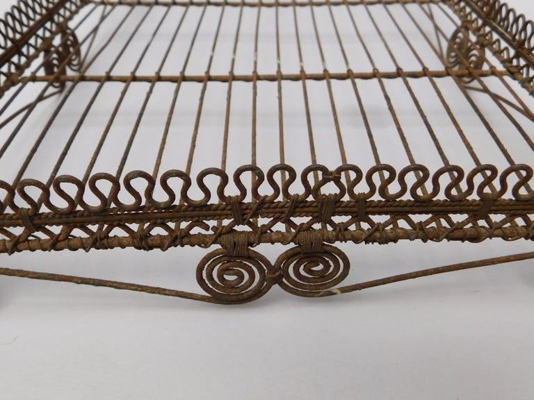 Tunisian  Wire Work Tray on Legs, circa 1920 For Sale