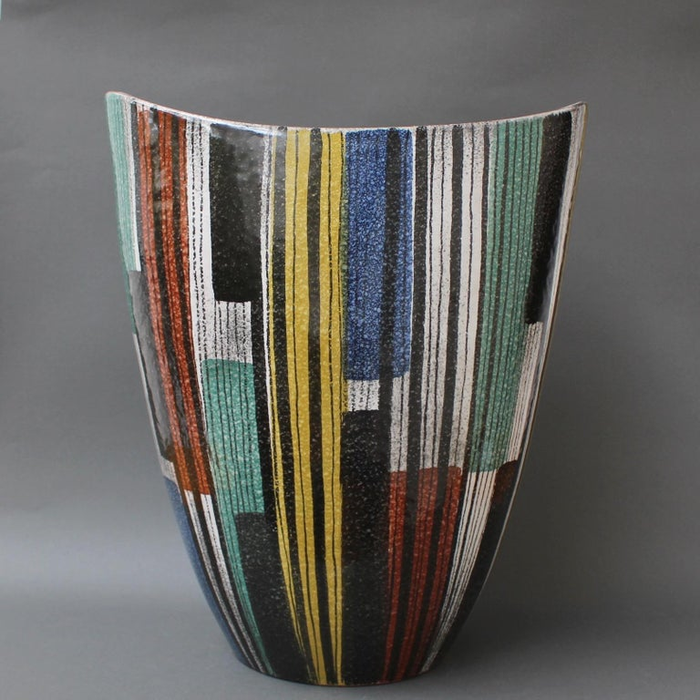 Very Large Midcentury Italian Ceramic Vase, circa 1950s In Good Condition For Sale In London, GB