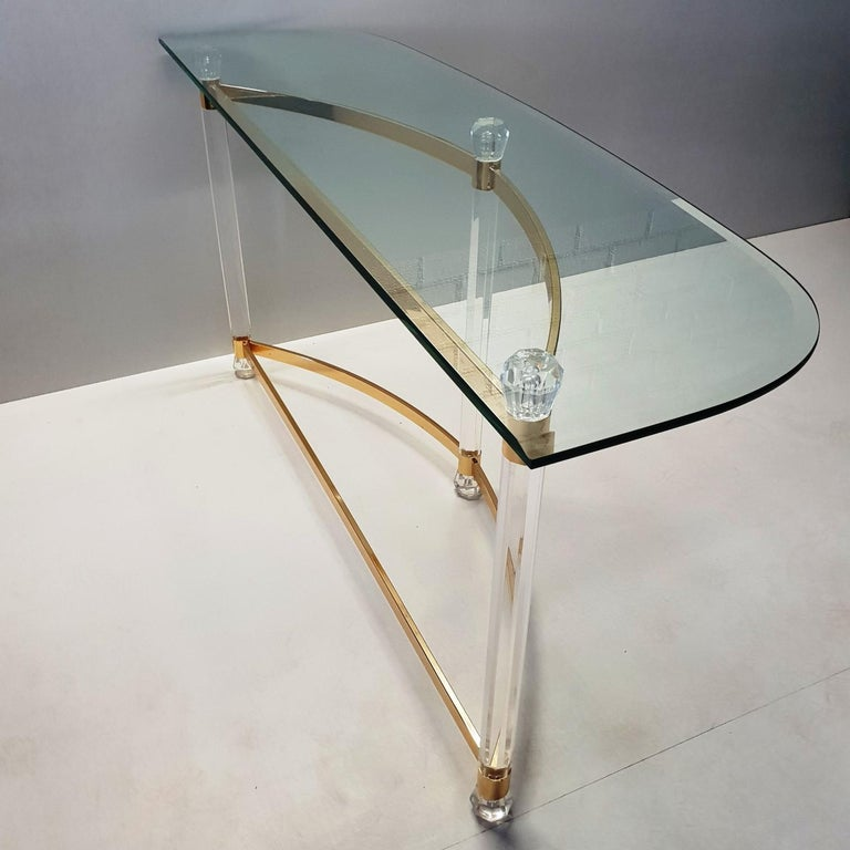Faceted French Brass and Lucite Console Table with Facet Glass Top, 1970s For Sale