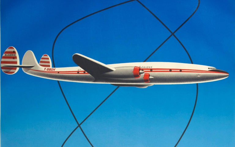French 1950s Air Algerie Poster by Georget Featuring a Lockheed Constellation For Sale