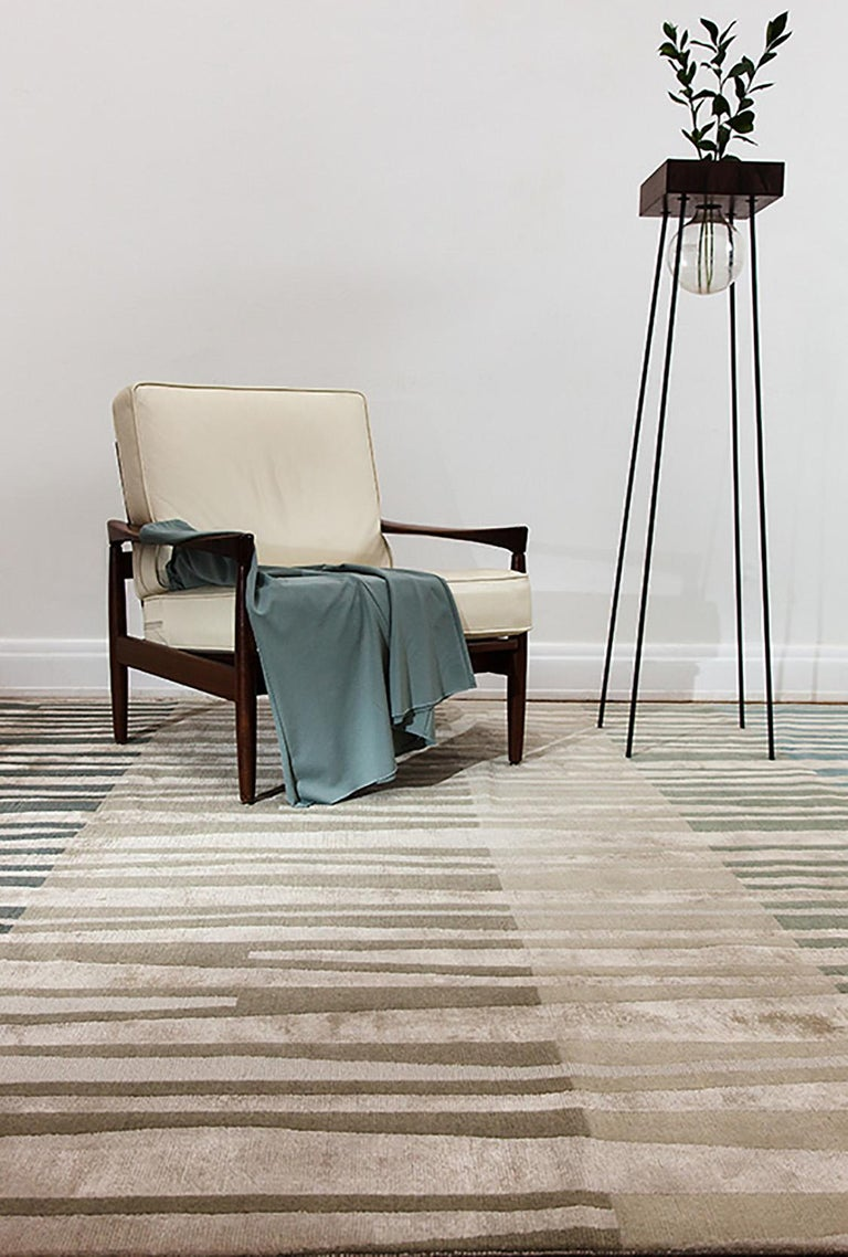 Hand-Knotted La Chapelle De Jour Contemporary Abstract Stone Green Wool and Silk Rug For Sale