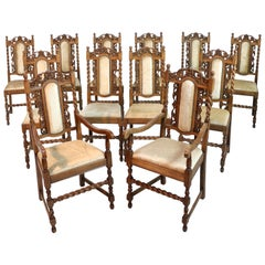 Set of 12 Antique Jacobean Revival Carved Oak Barley-Twist Dining Chairs
