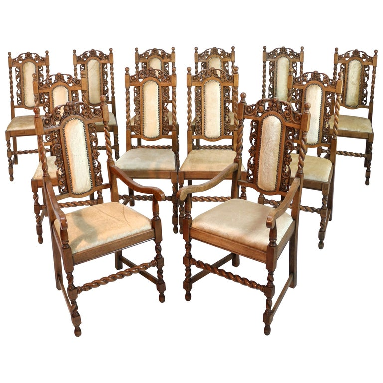 About A Chair 12 Side Chair.Set Of 12 Antique Jacobean Revival Carved Oak Barley Twist Dining