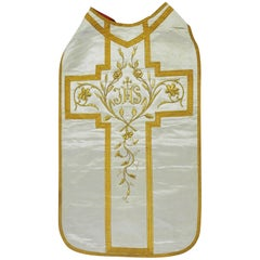 Antique Chasuble Religious Vestment Embroidered Textile, circa 1890
