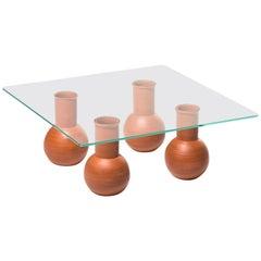 Wheel-Thrown Ballard Cocktail Table 'Four' in Terra Cotta Customizable Height