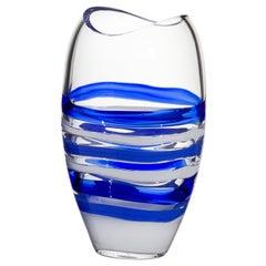 Kleine Ellisse Vase in blau und weiß von Carlo Moretti
