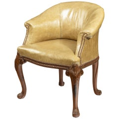 Late Victorian Mahogany Tub Desk Chair in the Chippendale Style