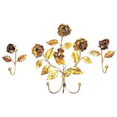 Italian Florentine Gold Gilt Metal Rose Coat Hook Set Toleware Tole, 1950s