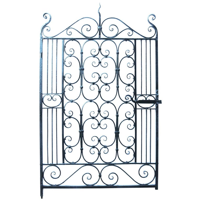 Antique Wrought Iron Pedestrian Gate For Sale