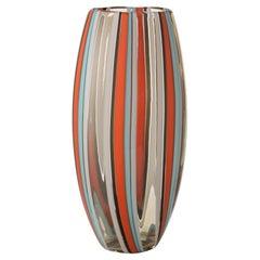 Salviati große Perles Vase in Orange und Aquamarin