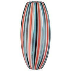 Salviati mittlere Perles Vase in Orange und Aquamarin