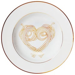"Dinner Pasta Porcelain Plate with gold Collection ""Le Coeur De La Mamma"""