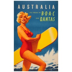 Original Vintage Australia Fly There by BOAC & Qantas Travel Poster Ft. Surfer