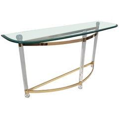 French Brass and Lucite Console Table with Facet Glass Top, 1970s