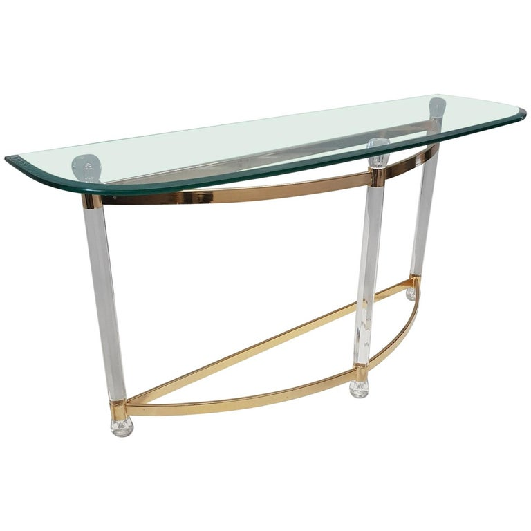 French Brass and Lucite Console Table with Facet Glass Top, 1970s For Sale