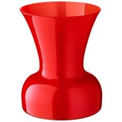 Salviati kleine Lilie Profili Vase in leuchtendem Rot von Anna Gili