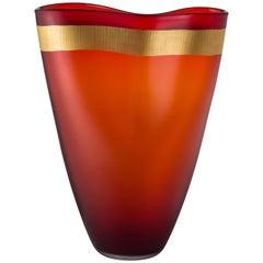 Salviati große Pizzicati Vase in rot von Norberto Moretti