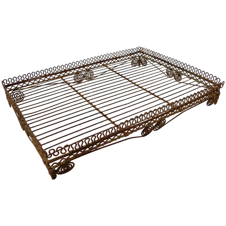 Wire Work Tray on Legs, circa 1920 For Sale