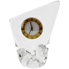 Cristalleries Schneider Midcentury Crystal Table Clock, 1950s