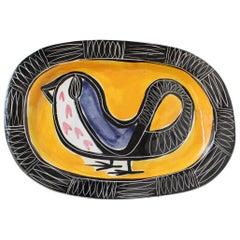 Ceramic Decorative Platter with Bird Motif by Jacques Pouchain - Poët-Laval
