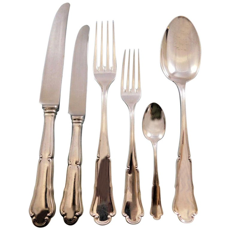 Savoy Italian Italy 800 Silver Flatware Set for 12 Service 77 Pieces Dinner Size For Sale