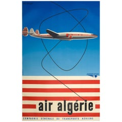 1950s Air Algerie Poster by Georget Featuring a Lockheed Constellation