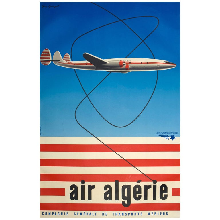1950s Air Algerie Poster by Georget Featuring a Lockheed Constellation For Sale
