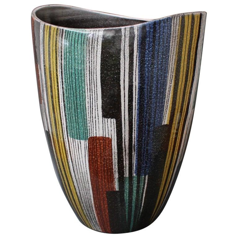 Very Large Midcentury Italian Ceramic Vase, circa 1950s For Sale