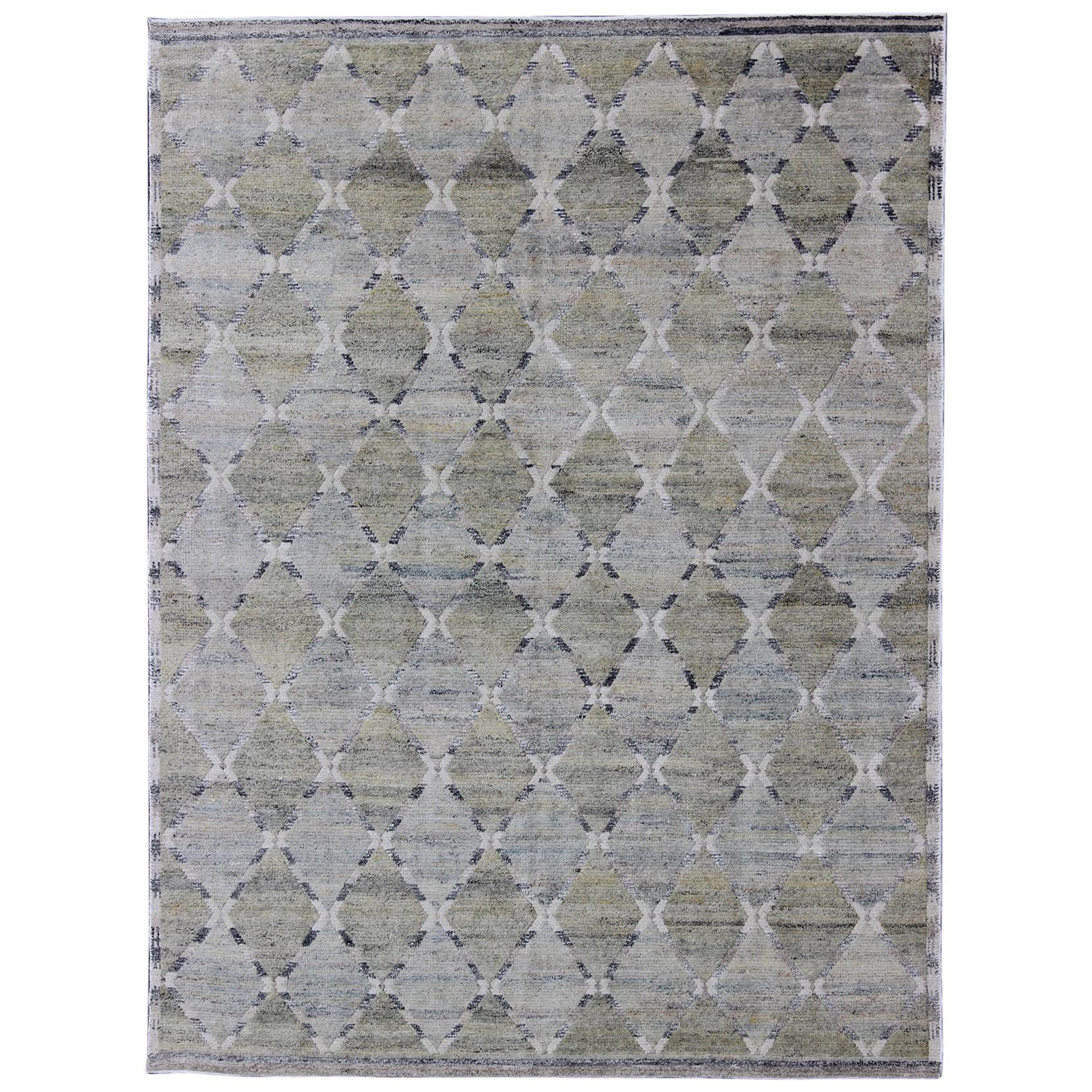 Geometric Latticework Pattern Modern Scandinavian Piled Rug in Shades of Gray